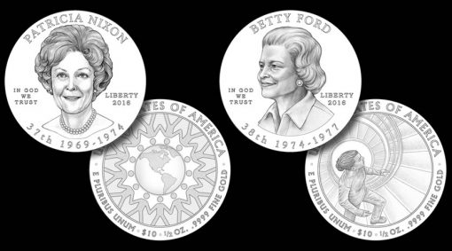 Designs for the Patricia Nixon and Betty Ford First Spouse Gold Coins