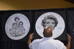 James Pressley and Nancy Reagan coin design line-art