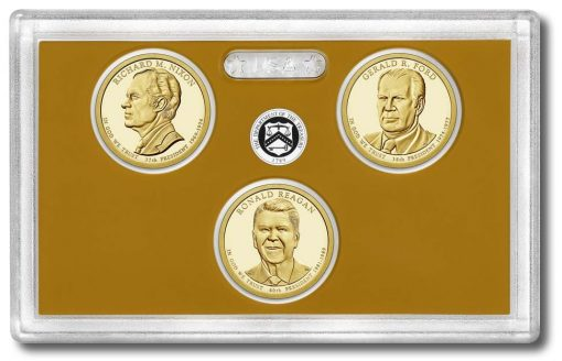 Lens with dollars of 2016 Presidential $1 Coin Proof Set