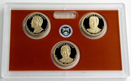 Photo of 2016 Presidential $1 Coin Proof Set Lens and Coins Obverses