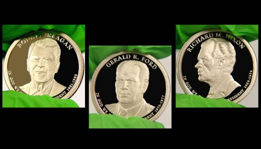 Photos of Reagan, Ford and Nixon Presidential $1 Proof Coins