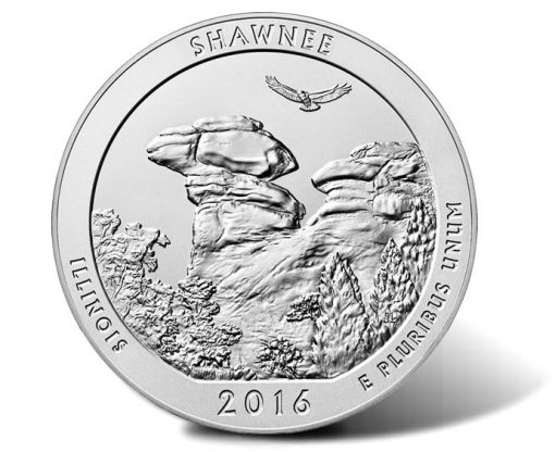 Reverse of 2016-P Shawnee National Forest Five Ounce Silver Uncirculated Coin