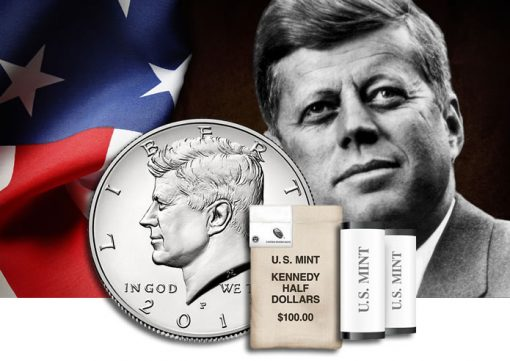 Rolls and bags of 2016 Kennedy-half-dollars