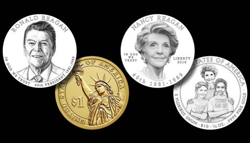 Ronald Reagan and Nancy Reagan Coin Designs