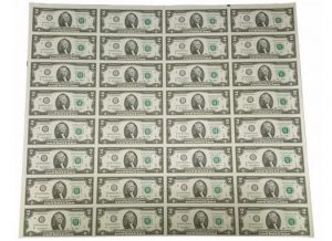 Series 2013 $2 Uncut Currency Sheet