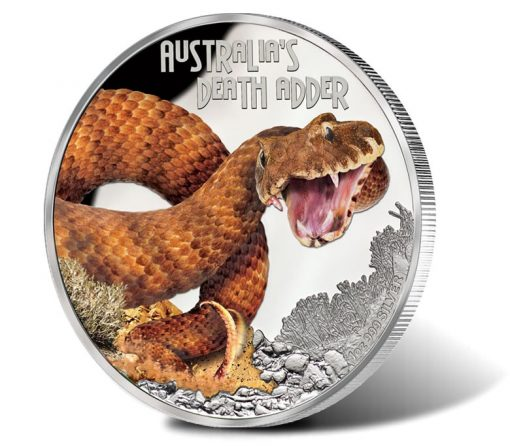2016 $1 Deadly and Dangerous Death Adder Silver Proof Coin