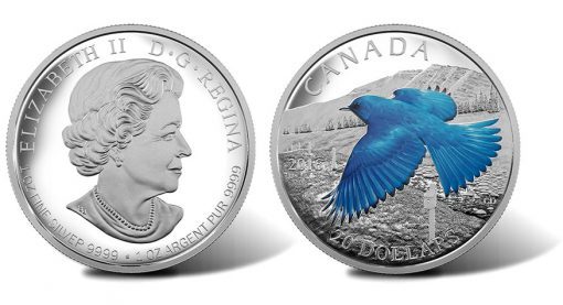 2016 $20 Mountain Bluebird Silver Proof Coin, Obverse and Reverse