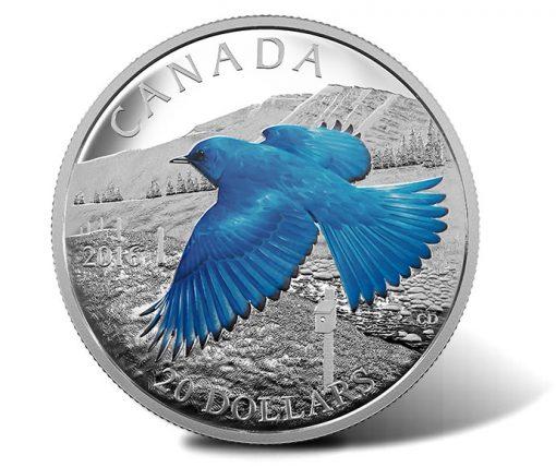 2016 $20 Mountain Bluebird Silver Proof Coin, Reverse