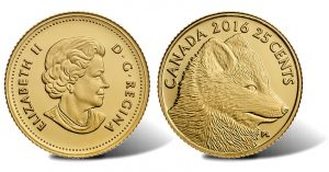 2016 25c Canadian Traditional Arctic Fox Gold Coin at 0.5 Grams