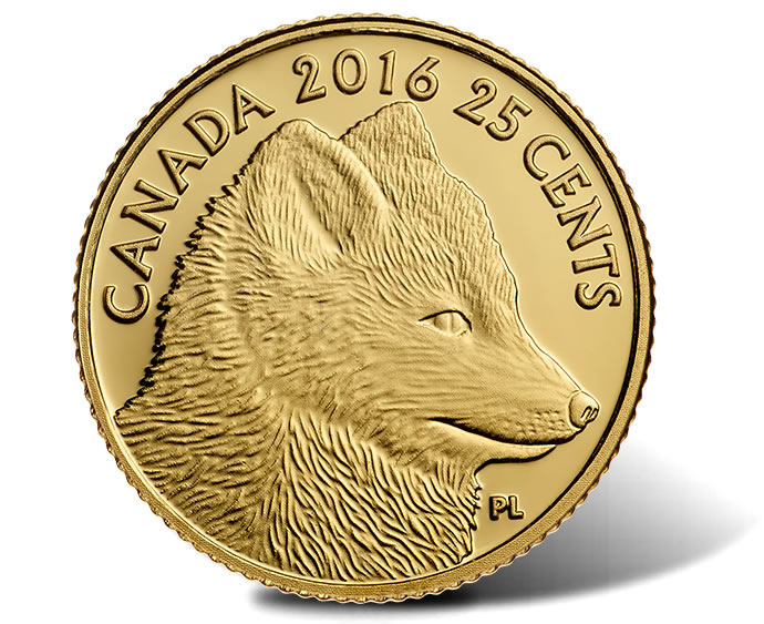 2016 25c Canadian Traditional Artic Fox 0.5g Gold Coin - Reverse