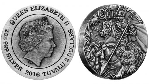2016 Odin High Relief 2 oz Silver Antiqued Coin