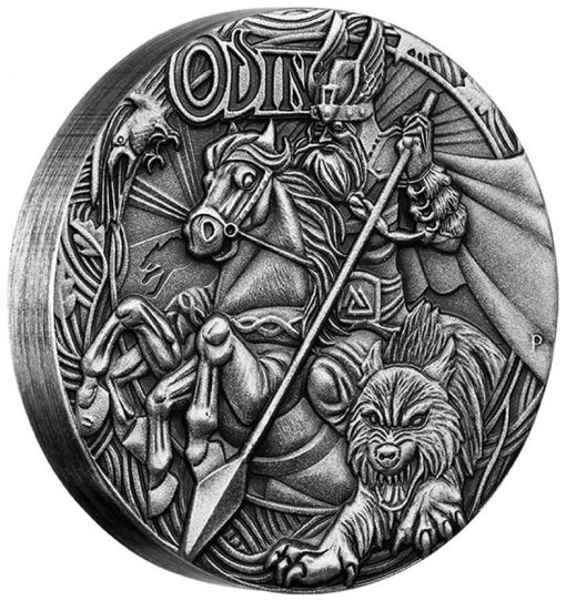 2016 Odin High Relief 2 oz Silver Antiqued Coin, Reverse