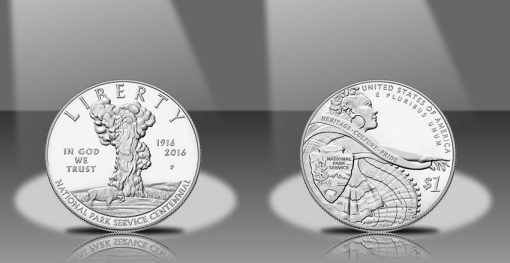 2016-P Proof National Park Service 100th Anniversary Silver Dollar, Obverse and Reverse