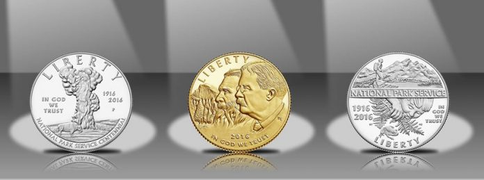2016 Proof National Park Service 100th Anniversary Commemorative Coins - Obverses