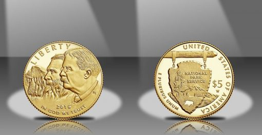 2016-W $5 Proof National Park Service 100th Anniversary Commemorative Gold Coin, Obverse and Reverse