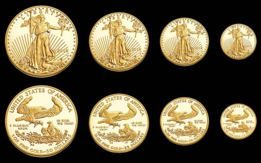 2016-W Proof American Gold Eagles - Obverses, Reverses, 4 Sizes