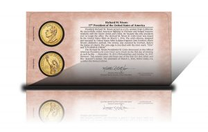 Back of 2016 Richard M. Nixon $1 Coin Cover