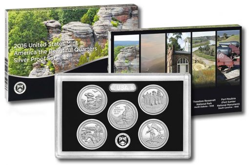 Box, lens and coins of 2016 America the Beautiful Quarters Silver Proof Set