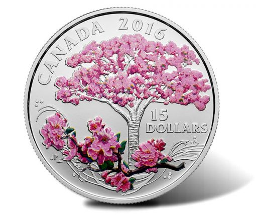 Canadian 2016 $15 Celebration of Spring - Cherry Blossoms Fine Silver Colored Coin