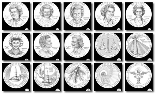 Design candidates for the 2016 Betty Ford First Spouse Gold Coins
