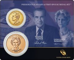 Nixon Presidential $1 Coin & First Spouse Medal Set