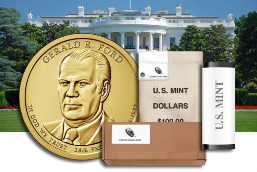 Rolls, bags and boxes of Gerald R. Ford Presidential $1 Coins