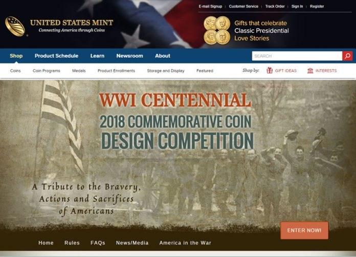 US Mint website for WWI coin design competition