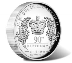 2016 $1 Queen Elizabeth II 90th Birthday Silver Proof High Relief Coin