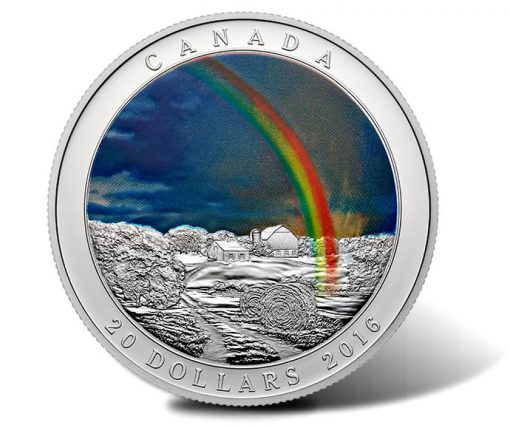 2016 $20 Radiant Rainbow Silver Coin