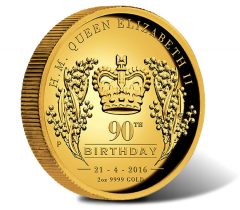 2016 $200 Queen Elizabeth II 90th Birthday Gold Proof High Relief Coin