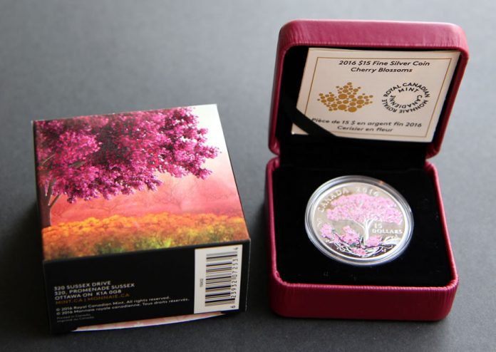 2016 Cherry Blossoms Silver Coin Box and Case