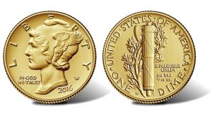 2016 Mercury Dime Centennial Gold Coin, Obverse and Reverse