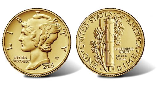 2016 Mercury Dime Centennial Gold Coin, Obverse and Reverse
