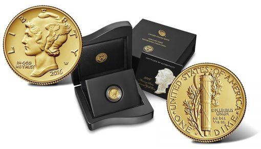 2016 Mercury Dime Centennial Gold Coin, Presentation Case