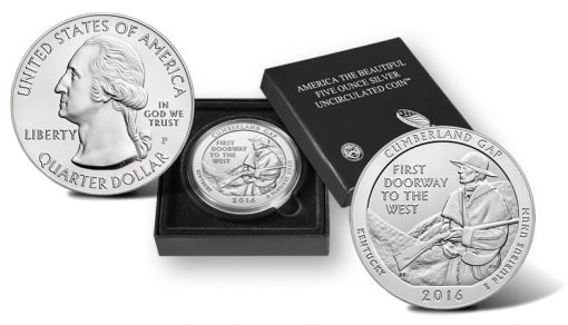 2016-P Cumberland Gap National Historical Park Five Ounce Silver Uncirculated Coin, Presentation Case