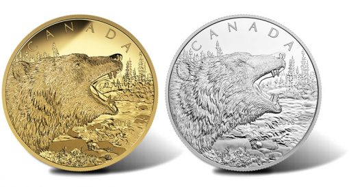 2016 Roaring Grizzly Bear 1/2 Kilogram Gold and Silver Coins