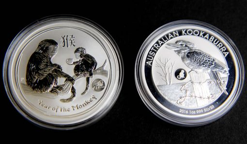 2016 Year of the Monkey and Kookaburra Privy Mark Bullion Coins in Capsules