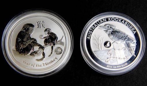 2016 Year of the Monkey and Kookaburra Privy Mark Bullion Coins in Capsules