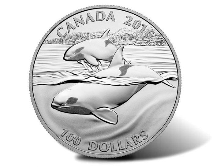 Canadian 2016 $100 Orcas Silver Coin