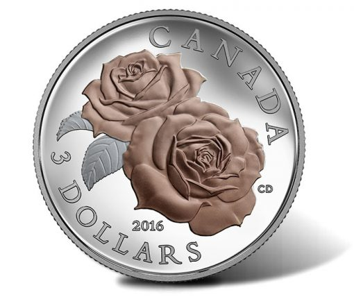 Canadian 2016 $3 Queen Elizabeth Rose Silver Coin