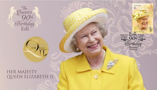 Her Majesty Queen Elizabeth II 90th Birthday Stamp and Coin Cover