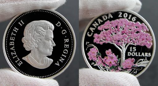 Photos of Canadian 2016 Cherry Blossoms Silver Coin, Obverse and Reverse