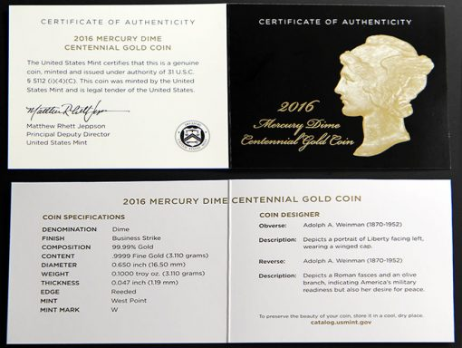 2016-W Mercury Dime Centennial Gold Coin - Certificate of Authenticity
