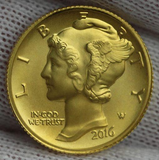 2016-W Mercury Dime Centennial Gold Coin, Obverse