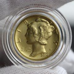 2016-W Mercury Dime Centennial Gold Coin, Obverse, Capsule