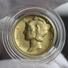 2016-W Mercury Dime Centennial Gold Coin, Obverse, Capsule, a