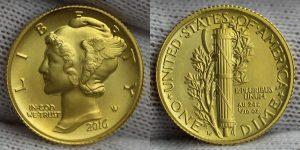 2016-W Mercury Dime Centennial Gold Coin - Obverse and Reverse
