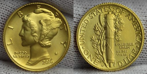 2016-W Mercury Dime Centennial Gold Coin - Obverse and Reverse