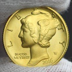 2016-W Mercury Dime Centennial Gold Coin, Obverse, c