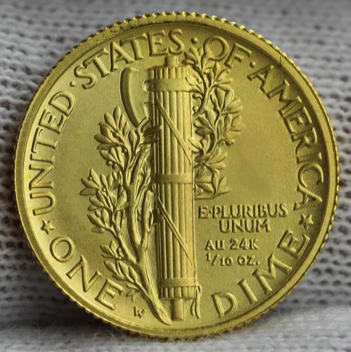2016-W Mercury Dime Centennial Gold Coin, Reverse